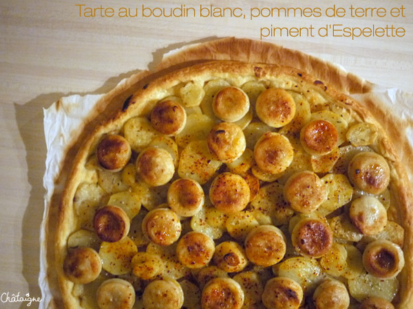 tarte au boudin blanc pommes de terre et piment d 39 espelette blog de ch taigne. Black Bedroom Furniture Sets. Home Design Ideas