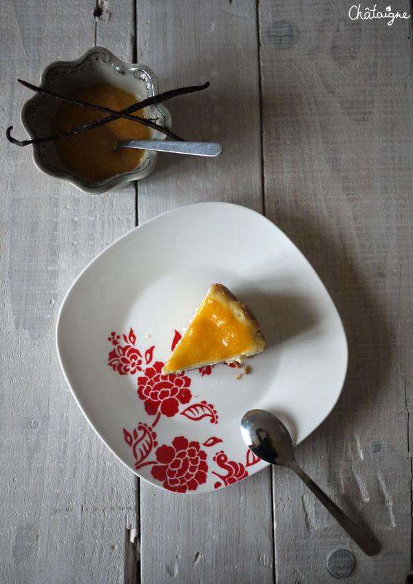 """Mais voilà, à force de voir fleurir des recettes de-ci-de-là sur la blogosphère culinaire, l'envie s'est insinuée dans ma caboche (influençable, moi ?!). Après un compilage de plusieurs recettes (mettre une plaquette de beurre dans la croûte ??! No way !), me voilà partie dans la réalisation de ce gâteau à base de fromage frais sous l'œil très suspicieux de M. Rabat-Joie : """"du fromage en gâteau ??!! Yeark !""""  J'en ai profité pour tester le tout nouveau tout bô Philadelphia, fromage à tartiner arrivé il y a peu de temps sur nos étals (très bon d'ailleurs en tartine), et comme je n'avais pas de fruits rouges pour le coulis, je me suis tournée vers un coulis de nectarines jaunes ..."""