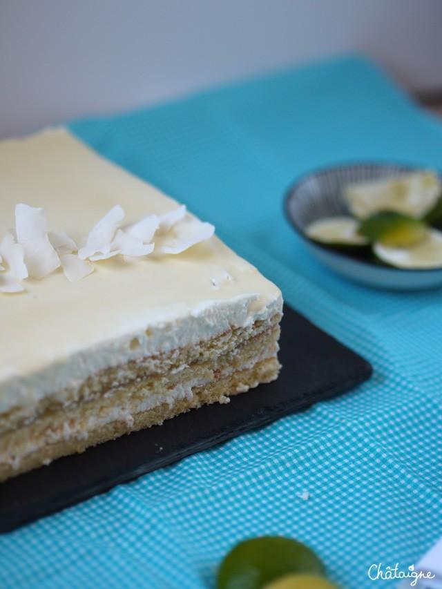 gâteau citron-citron vert et mousse coco