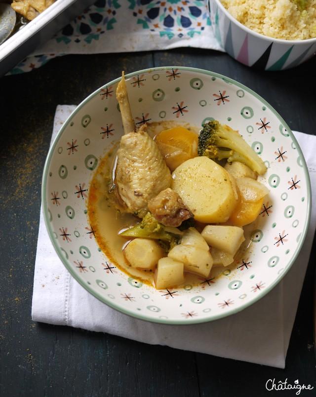 Couscous de poulet et légumes racines