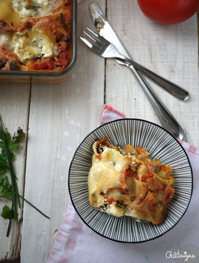Lasagnes tomates, ricotta et sardines