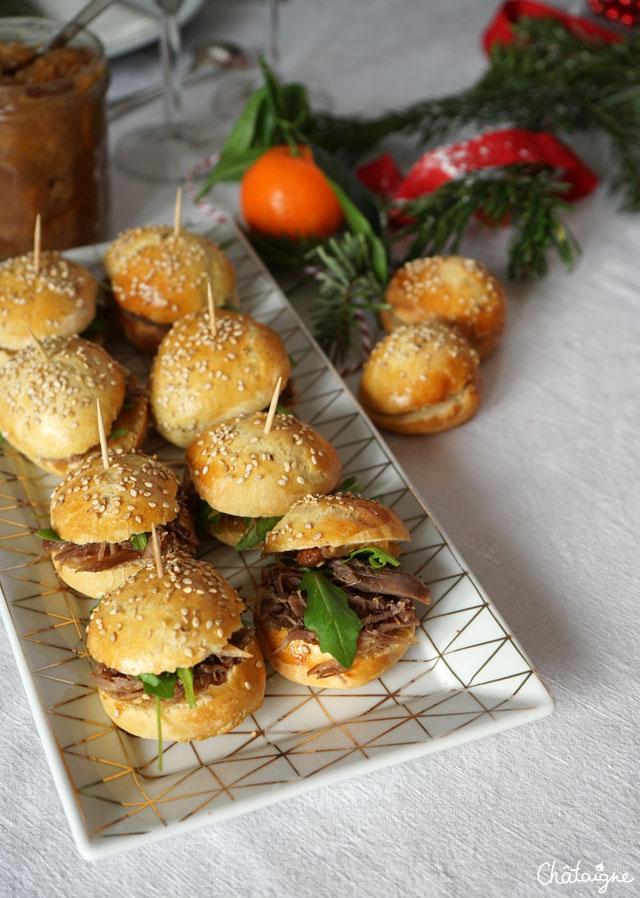 mini burgers au canard confit et chutney de pommes