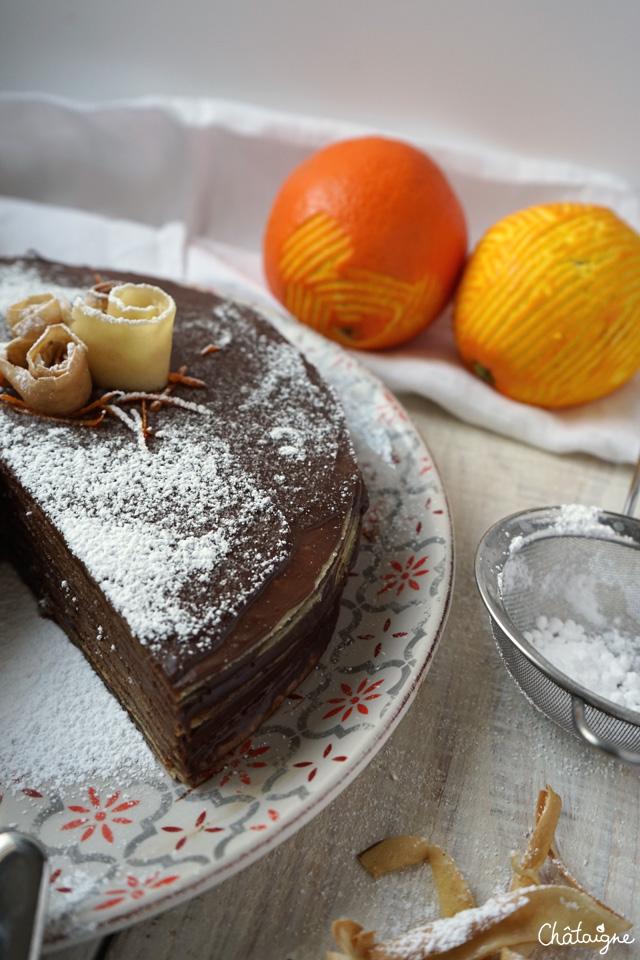 gâteau de crêpes chocolat-orange