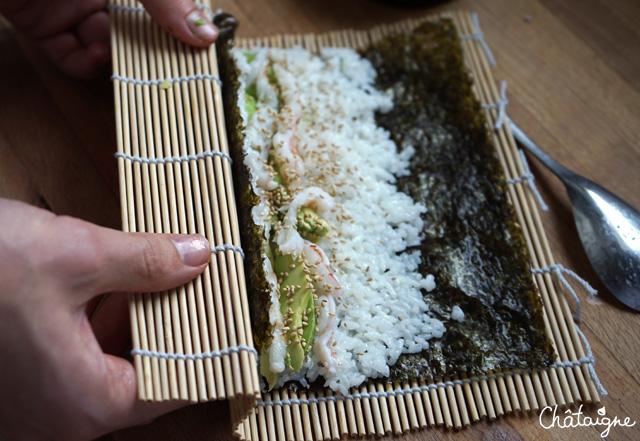 Makis et sushis avocat-crevettes