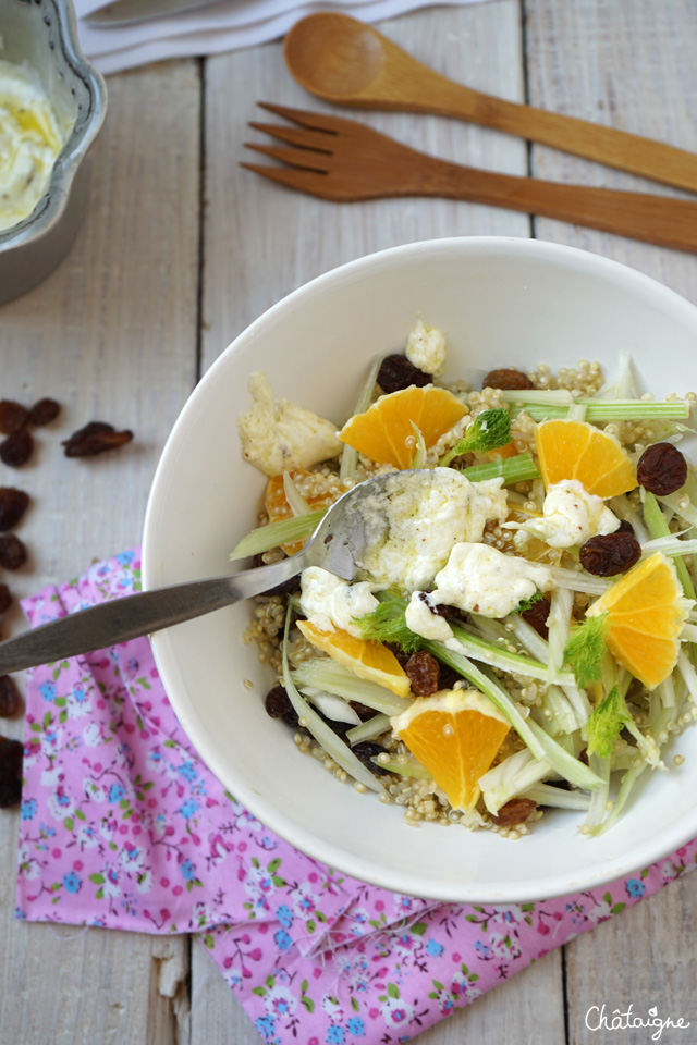 entrée,salade,quinoa,fenouil,orange,raisins