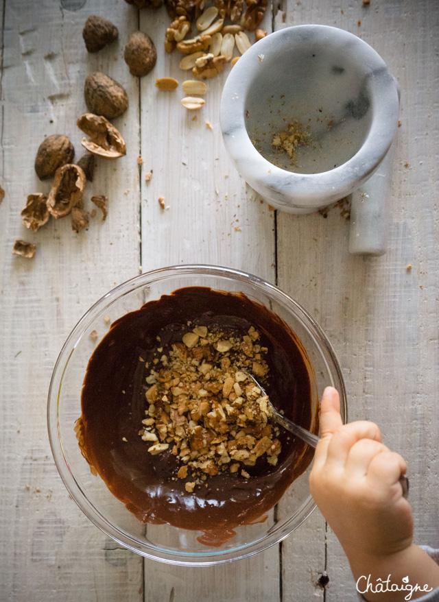 Brownies au chocolat, noix et cacahuètes
