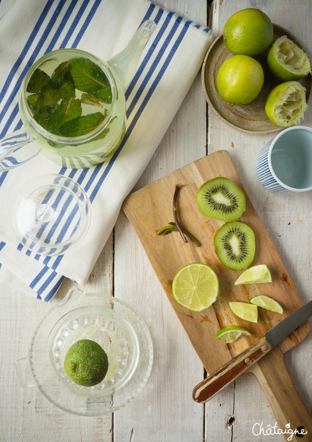 Eau detox citron vert-kiwi-menthe