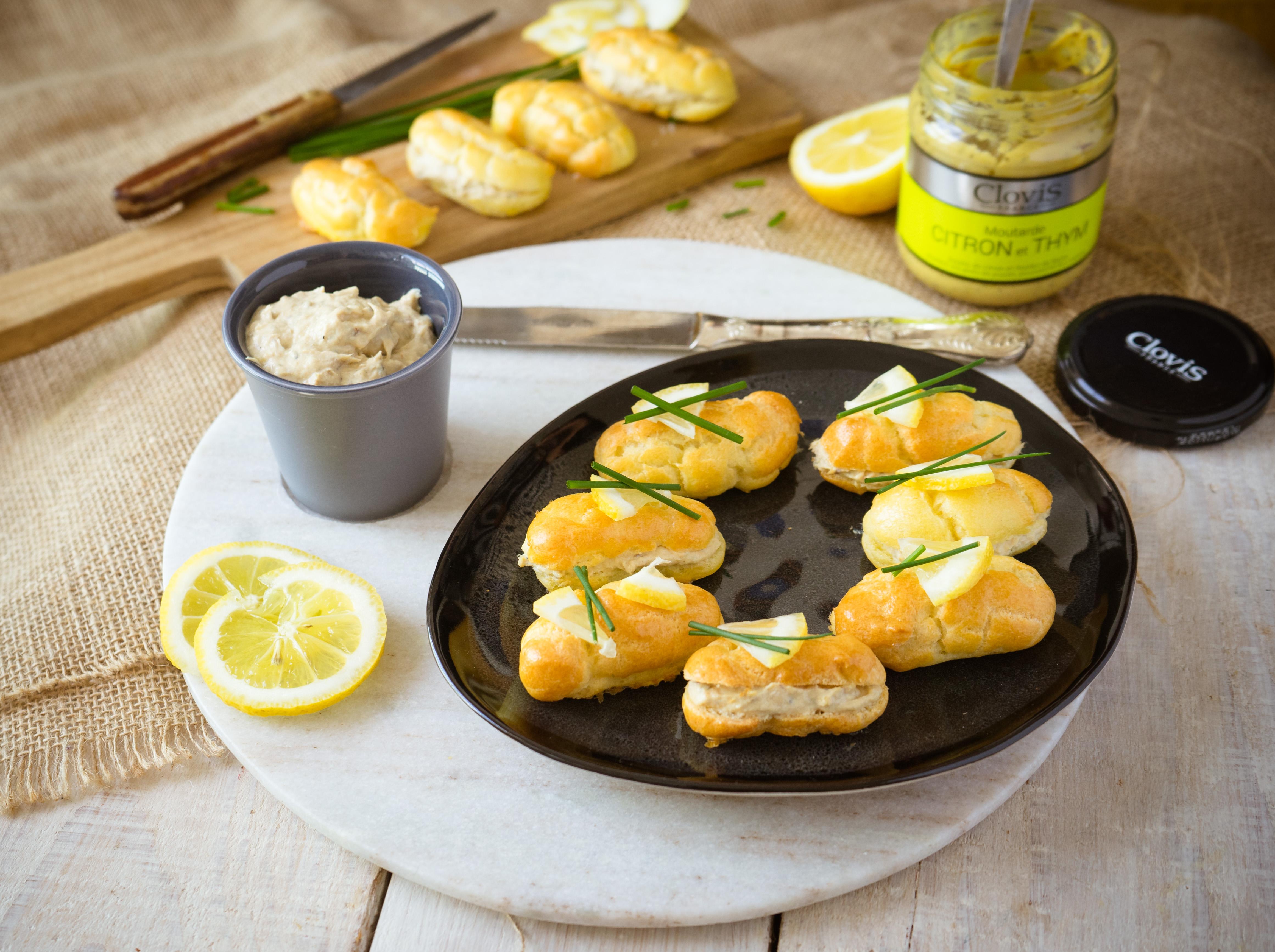 Minis éclairs à la mousse de ricotta, sardine et moutarde thym-citron