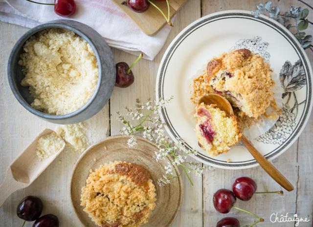 Muffins aux cerises façon crumble