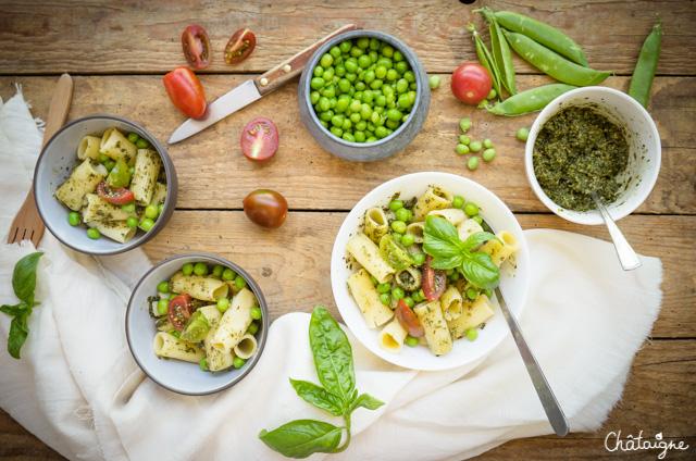 Salade de pâtes au pesto et petits pois