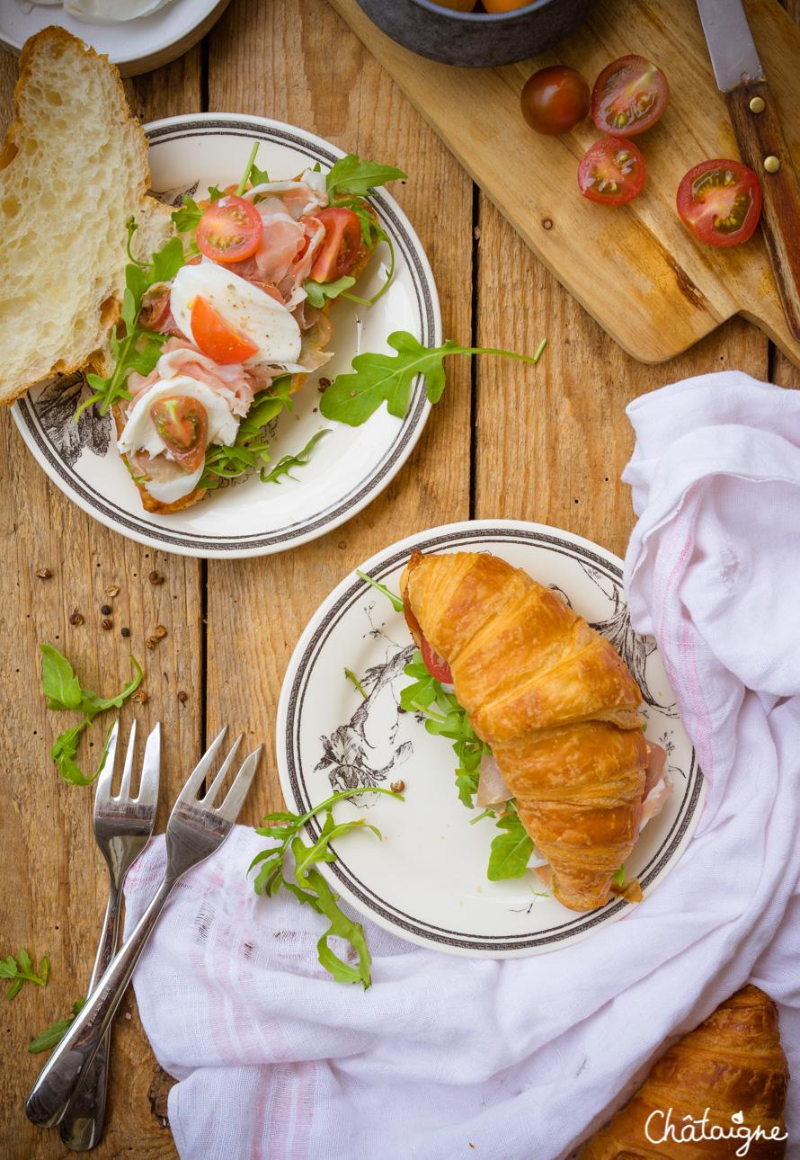 Croissants au speck, tomates cerises et mozzarella