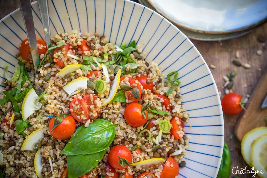 Salade de quinoa et lentilles vertes