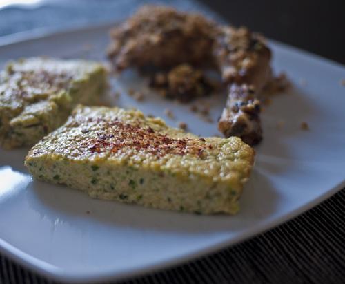 Cuisses de Pintade en croûte de pistaches et cacahuètes, Flans de courgettes au piment d'Espelette