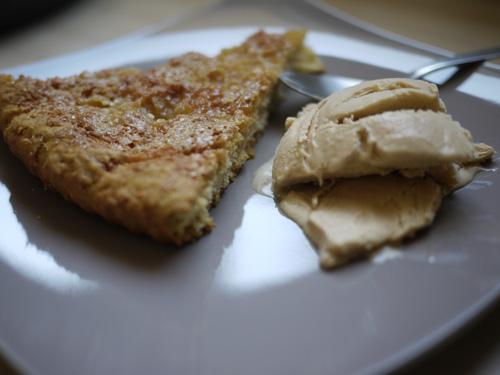 Tarte au sucre et crème glacée au carambar -sans sorbetière-