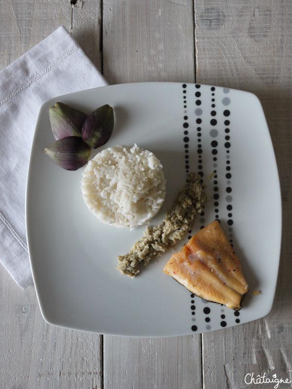Filet de truite saumonée et purée d'artichauts - tout simplement -