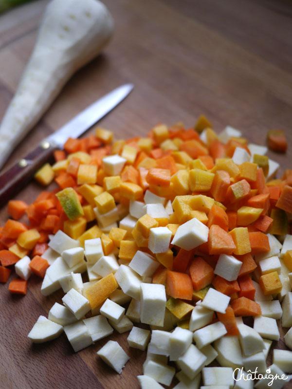 légumes racine en crumble