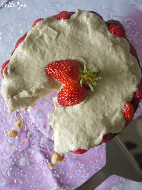 Entremets fraises – rhubarbe