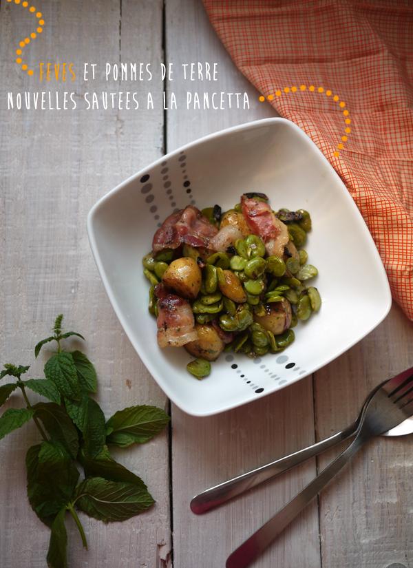 Fèves et pommes de terre nouvelles sautées à la pancetta