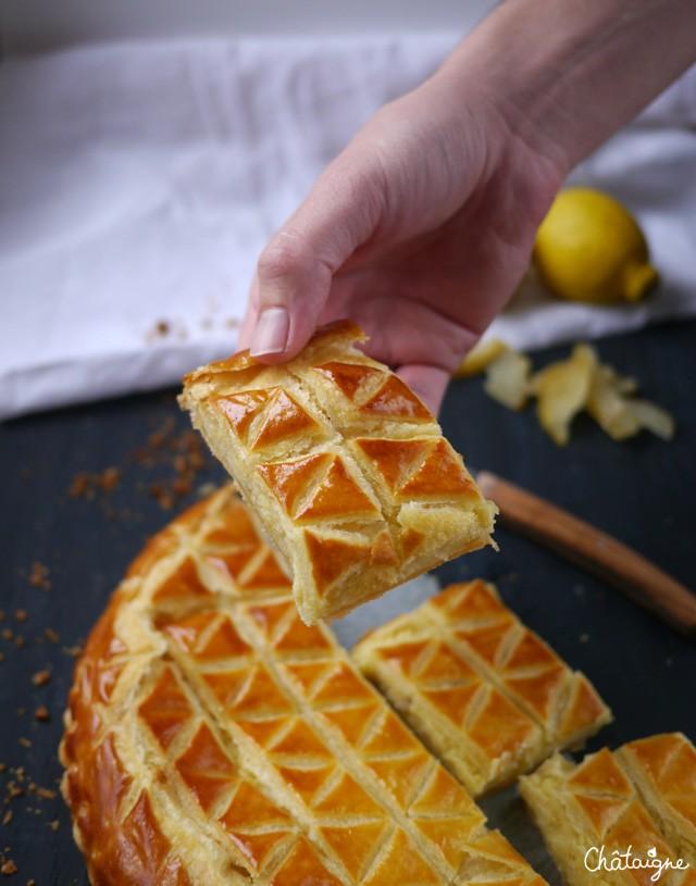 galette des rois au citron et cédrats confits