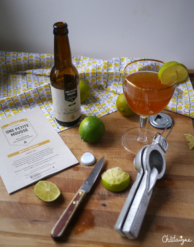 cocktail bière, passion, citron vert