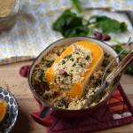 Courge butternut farcie au boulgour et épinards