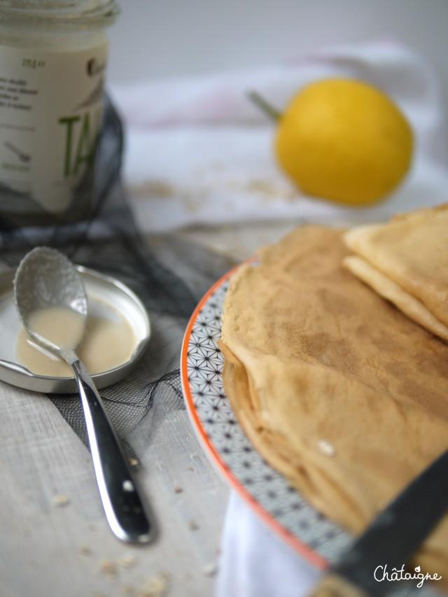 Crêpes au lait d'avoine et tahin