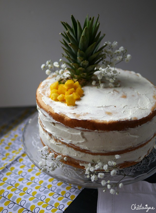 naked cake ananas-mangue