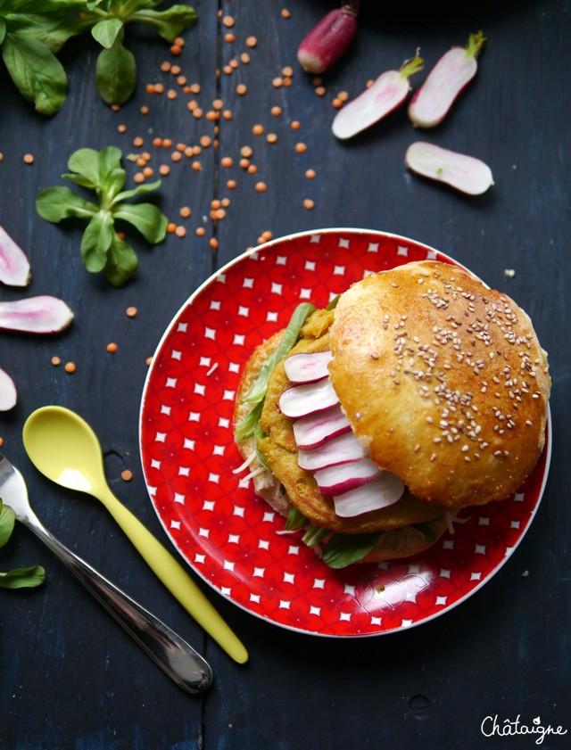 burgers aux steaks de lentilles corail