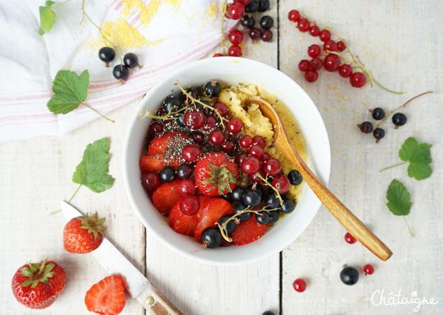 Porridge de polenta aux fruits rouges {cassis-groseilles-fraises}