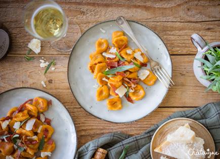 Gnocchis de patates douces, parmesan et speck