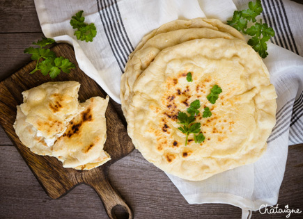 Cheese-naans, pains plats au fromage