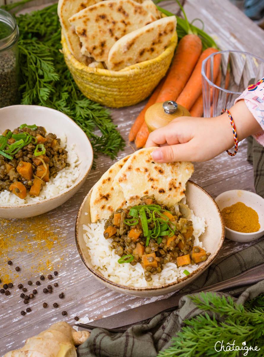 Curry de lentilles vertes