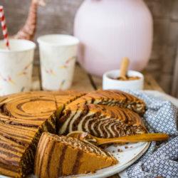 Gâteau zébré ou Zebra cake chocolat-noisettes