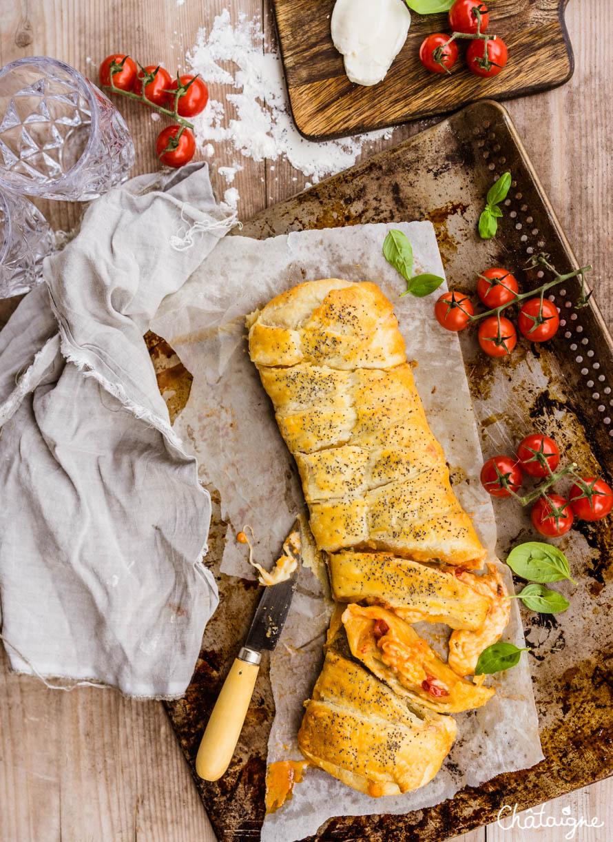tresse feuilletée tomates-mozzarella
