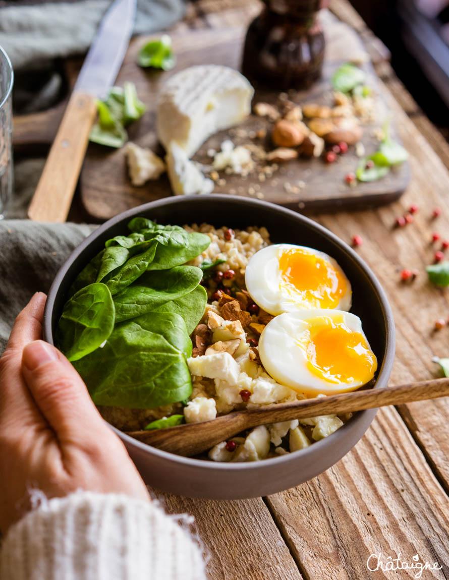 Porridge salé au miso