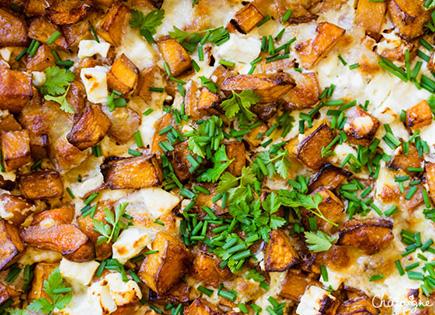 Gratin de courge butternut, feta & mozzarella